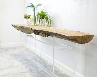 Floating Console Table White Oak Shelf