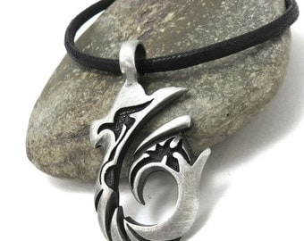 Rustic Hawaiian Hook Pendant, Big Fish Hook Necklace with Faux Leather Cord - Men's Beach Jewelry