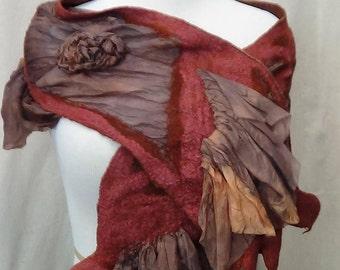 Merino wool Shaw, nuno felted scarf eco freindly gift fashion scarves lightweight scarf handmade scarf made in USA, boho wrap shawls & wraps