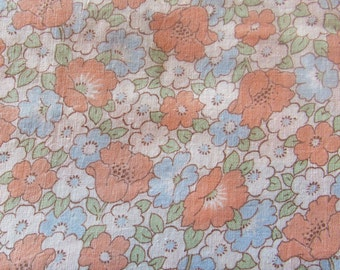 pink and blue floral print vintage cotton fabric -- 34 wide by 2 1/2 yards
