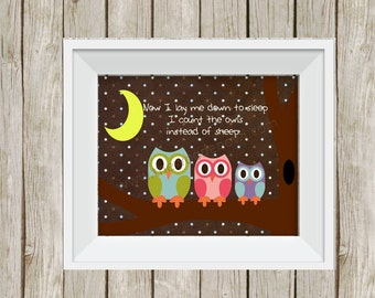 owl nursery, nursery wall art, 8x10 print, owl decor, kid's wall art, gender neutral, baby shower gift, bedtime sign, owl room, nursery art