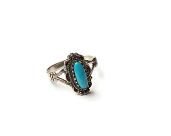 Vintage Turquoise Boho Sterling Silver Ring