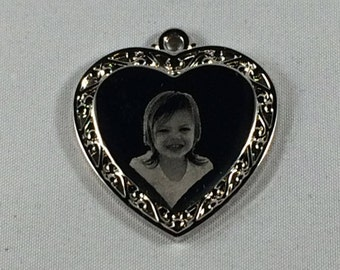 Engraved Heart Necklace Engraved with your own Photo.Heart Necklace Silver Heart Necklace Personalized Heart Charm Mothers Day Gift Pendant