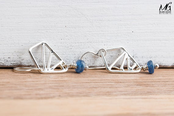 Silver Geometrical Earrings in Sterling Silver with Blue Kyanite Gemstones