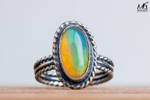 Ethiopian Opal Ring in Oxidized Sterling Silver and 14K Gold Fill