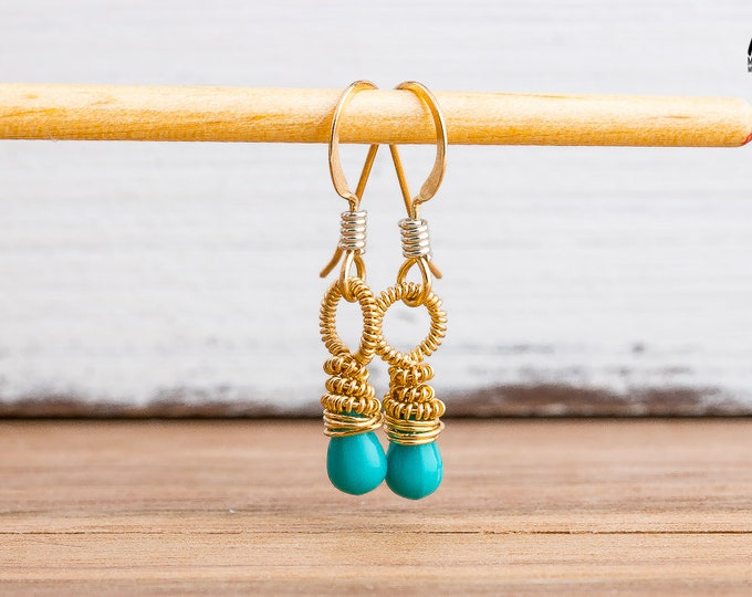Tiny Baby Blue Wire Wrapped Czech Glass Earrings in 14K Gold Fill