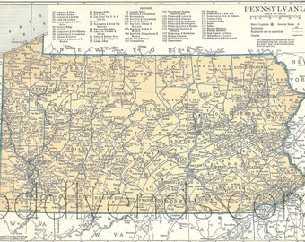 1939 Pennsylvania Vintage Atlas Map