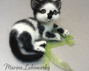 Tuxedo Cat, Black and White Kitten, Needle felted Cat, Custom order Kitten by Marina Lubomirsky