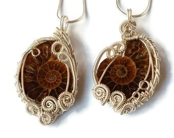 Intricate Ammonite Fossil Necklaces (Pair or Single) /Wire-wrap / Natural Fossil Pendants / Best Friends Necklaces / Him and Her
