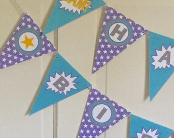 GIRL SUPERHERO Happy Birthday or Baby Shower Party Banner - Lavender Aqua - Party Packs Available