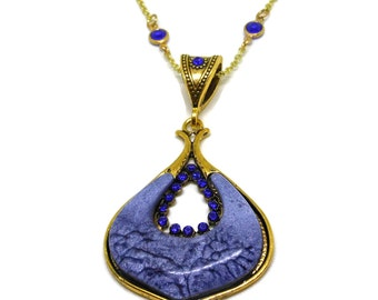 Blue glass teardrop pendant, blue rhinestone & crystal accents, gold chain, large bail perfect for switching up looks, extender with crystal