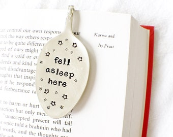 Fell Asleep Here, Spoon Bookmark. Vintage Silverware Spoon Book Marks by Milk & Honey.