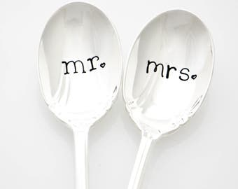 Mr. and Mrs. wedding silverware. Hand stamped iced tea spoons. Summer wedding present idea.