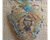 French Kitty- Scented Sachet, patchwork, primitive hand drawn, hand embroidered in Australia