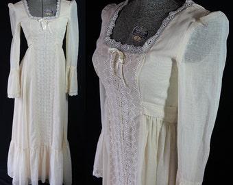 70s Maxi Dress, Hippie Boho Chic, Festival, Peasant Dress, Vintage Wedding