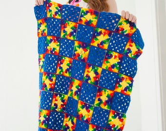 Vintage rainbow granny square afghan, lap blanket throw, blue baby colorful small, 1970s SALE