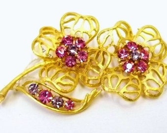 Pink Rhinestone Flower Brooch Gold Metal Filigree Flowers Vintage New With Tag Pink Purple Rhinestone Flower Brooch Gold Metal Flower DD1021