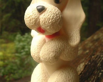 Vintage Rubber Squeak Poodle Toy - Squeaky Toy Puddle Hound - 1953 Kaysam Molded Latex Toy Dog