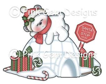 Digi Stamp Sleeping Polar Bear. Makes Cute Papercraft and Digital Scrapbooking Projects. Christmas Cards. Baby Polar Bear