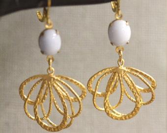 Lilac Stone Earrings, Gold Feather Earring, Vintage CZ Glass Earrings, Ribbons Earrings, Gold Leaf Earrings, Bridal Jewelry, Christmas Gift