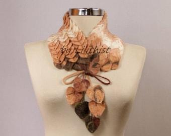 Crochet Scarf, Women Scarf, Crochet Infinity Scarf, Crochet Cowl, Collar Scarf, Crochet Necklace, Brown Beige Leaf Scarf, Gift For Her