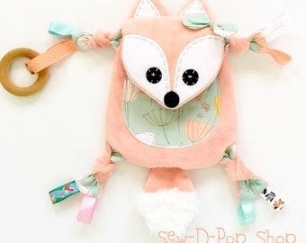 Mini baby fox toy teething personalized memory lovey keepsake friend