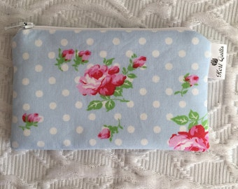 Rose Coin Purse, Zipper Pouch, Wallet, Change, Pink, Blue, White, Polka Dots
