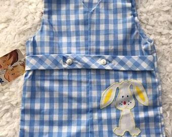 Vintage NWT NOS gingham bunny shortall