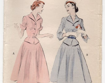 """1950's Butterick Two-Piece Dress with Full Skirt - Bust 32"""" - UC/FF - No. 6484"""