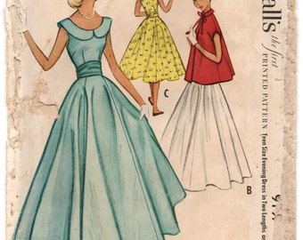 "1950'sMcCall's Prom or Homecoming Floor or Tea length Dress Pattern with scoop neck and jacket - Bust 30"" - No. 9197"