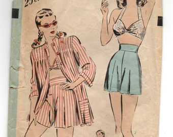 "1940's Hollywood Two-Piece Bathing Suit and Cover-Up Pattern - Bust 32"" - No. 1822"