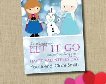 Frozen valentine. School Valentine cards. Instant download
