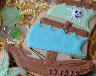 Pirate Ship Decorated Shortbread Cookie Favors, Birthday, Baby Shower