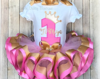 Princess Crown First Birthday Ribbon Trimmed Tutu Outfit - First Birthday Tutu Set - Pink and Gold Birthday Outfit - Second Birthday