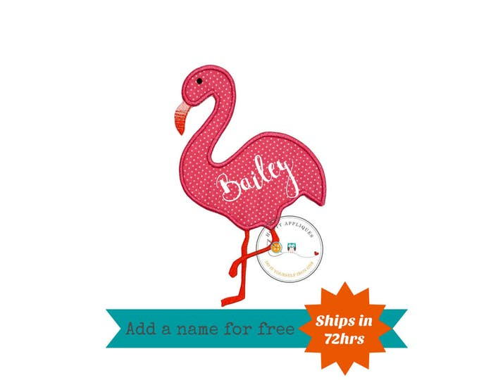 Flamingo fabric iron on applique, pink and white machine embroidered flamingo bird heat press patch for clothing, ready to ship
