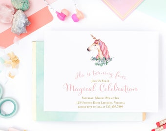 Unicorn Birthday Invitation- Watercolor -  5x7 Birthday Invitations - Printed or Printable - Free Shipping