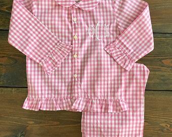Girls Classic Pink Gingham Pajamas