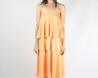70s Layered Disco Dress, Apricot 2-piece dress & top set, XS Small 3960