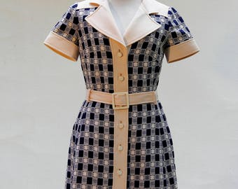 OGGI, Paris, Vintage 60s 70s, wool and of other fibers, Blue and Ivory, Mod Dress Shirtwaist, Dress S, Dress Made in Paris