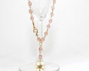 Pale Pink Czech Crystal Rosary Bead Chain Style Short Necklace with Gold Flower Charm