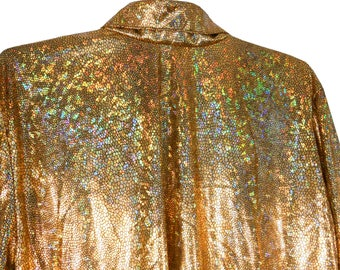 Metallic Shirt/ Holographic Shirt/ Gold Blouse/ Metallic Top/ Psychedelic Shirt/ Iridescent Shirt/ Club Kid/ Gold Lame/ 70s Costume/ Disco