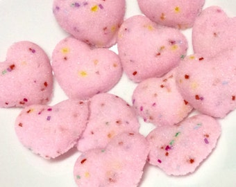 Rainbow Colored Sugar Cube Hearts Confetti Sugar Hearts for Tea.Coffee.Showers and WEDDINGS