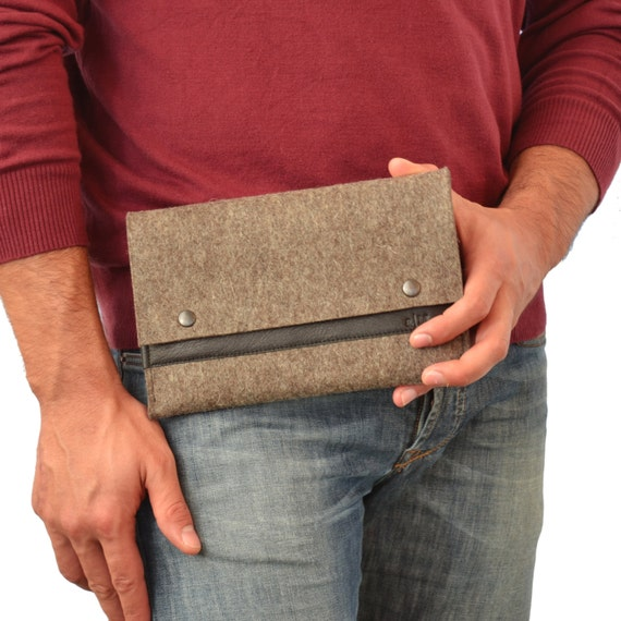 30% OFF Felt Ipad mini SLEEVE with leather band, wool felt, handmade, made in Italy