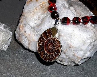AMMONITE Fossil Pendant Strung w Vintage Red Beads