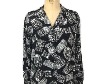 vintage 1980s travel stamp blouse / Liz Sport / black white / rayon / novelty print blouse / women's vintage blouse / tag size small