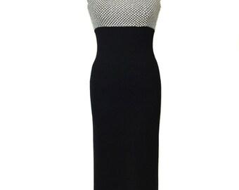 vintage ST.JOHN knit evening gown / black white / embellished dress / maxi dress / Santana knit / women's vintage dress / tag size 4