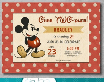 Vintage Mickey Mouse Birthday Invitation - Boy - Mickey Mouse Themed Party - 2nd Second Birthday - Customizable - Digital - Printable - DIY