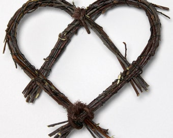 Set of 3 Primative Hearts made from twigs