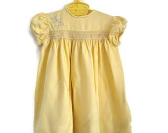 Baby Dress, Vintage Baby Dress, Summer Baby Dress, Yellow Baby Dress, Spring Baby Dress, Baby Girl Clothes, Baby Girl Dress