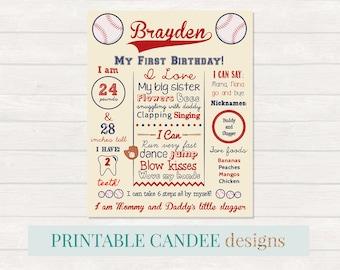Baseball First Birthday Chalkboard Sign - Baseball Birthday Sign - Milestone Sign - Printable Stats Sign - 1st Birthday Custom Board - Sport